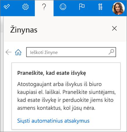 "Žinyno sritis internetinėje ""Outlook"""
