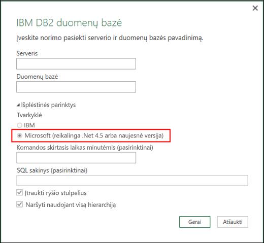 """""""Excel Power BI"""" IBM DB2 duomenų bazės jungties dialogo langas"""