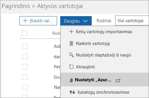"""Meniu Daugiau puslapyje Aktyvūs vartotojai, pažymėjus """"Azure"""" kelių dalių autentifikavimo sąranką."""