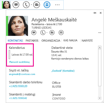 """Kontakto """"QuickLync"""" ir kontakto kortelės su pažymėtu kalendoriumi susitikimo planavimu ekrano nuotrauka"""