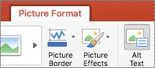 """""""PowerPoint 2016"""", skirtos """"Mac"""", juostelės mygtukas Alternatyvusis tekstas"""
