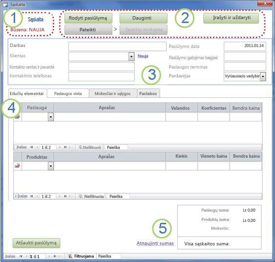 Forma Išsami sąskaitos faktūros informacija