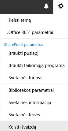 """Ekrano kopija, kurioje matoma """"SharePoint"""" meniu parinktis Keisti išvaizdą."""