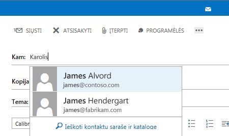 """""""Outlook Web App"""" automatinio užbaigimo sąrašas"""