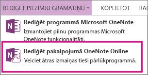 Piezīmju grāmatiņas rediģēšana programmā OneNote Online