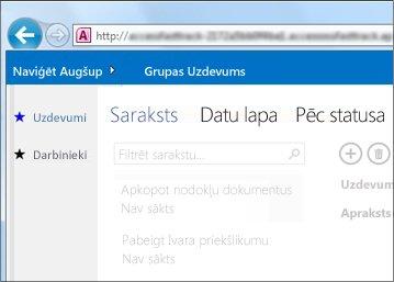 Access lietojumprogramma ar tabulu sarakstu kreisajā malā un skatu atlasītāju augšdaļā.