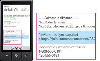 Ekrānuzņēmums, kurā Lync mobilajā klientā redzams pieprasījums pievienoties Lync sapulcei