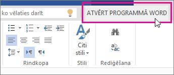 Atvēršana programmā Word no rediģēšanas skata tīmekļa programmā Word Online