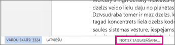 Statusa josla programmā Word Online