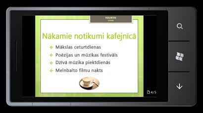 PowerPoint Mobile2010 sistēmai Windows Phone7: rediģēšana un skatīšana no tālruņa