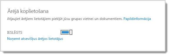 Attēls, kurā atainota ieslēgšanas/izslēgšanas vadīkla, kas ārējiem lietotājiem ļauj piekļūt grupas vietnei un dokumentiem.