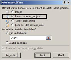 Dialoglodziņš Importēšanas opcijas