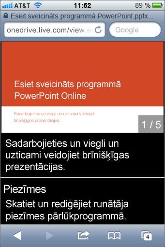 Slaidi un runātāja piezīmes PowerPoint Mobile skatītājā