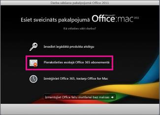 Office for Mac home instalēšanas lapa