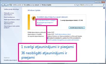 Saites rūtī Windows atjaunināšana