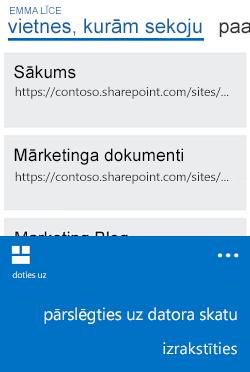 Pārslēgšanās no mobilā skata uz datora skatu izvēlne Windows Phone tālrunī