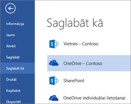OneDrive darbam mape failu atvēršanas vai saglabāšanas laikā