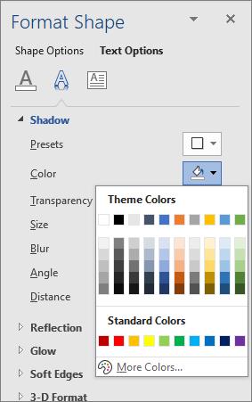 WordArt ēnas krāsu atlase