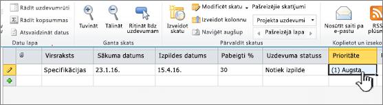 Ievadiet nosaukumu, datumu un projekta uzdevumu statusu