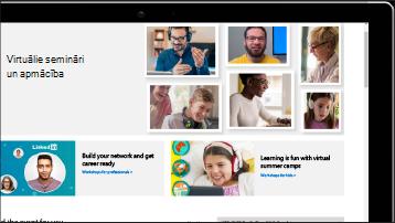 Ekrāns ar virtuālo semināru un apmācību ekrānuzņēmumu