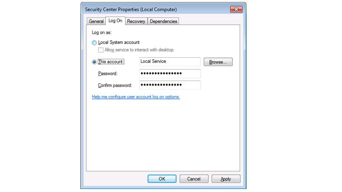 Security Center Properties dialog box