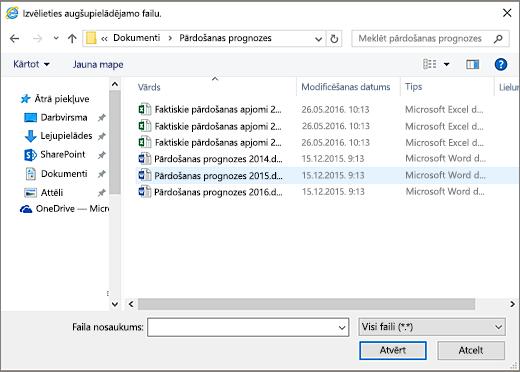 Dialoglodziņā augšupielādējamā faila izvēle SharePoint.