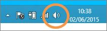 Fokuss uz Windows skaļruņu ikonu, kas redzama uzdevumjoslā