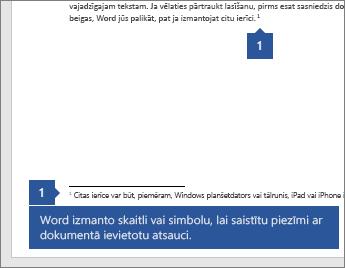 Programma Word izmanto skaitlim vai simbolam saistīšana piezīmi ar atskaites punktu dokumentā