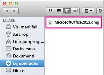 Atlasīt failu MicrosoftOffice2011.dmg