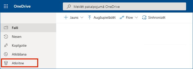 OneDrive darbam tiešsaistē, kur kreisās puses izvēlnē redzama atkritnes