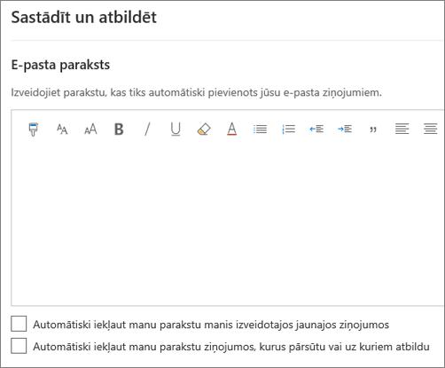 E-pasta paraksta izveide programmā Outlook tīmeklī