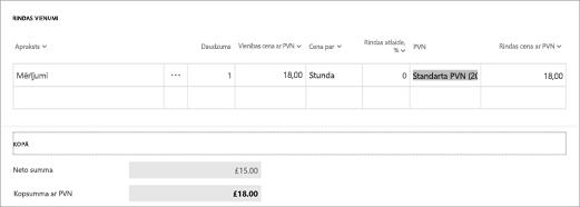 Ekrānuzņēmums: Aprēķinot PVN Microsoft rēķinā