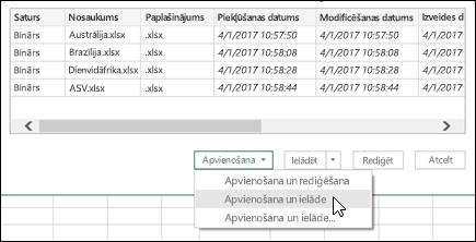 Opcija apvienošana bināros failus apvienot un slodzes