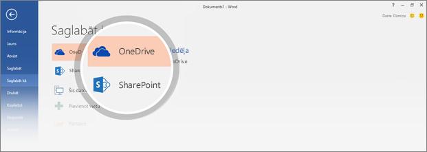 Ir iezīmētas OneDrive un SharePoint atrašanās vietas dokumenta saglabāšanai