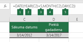 Datuma aprēķināšana, izmantojot citu datumu