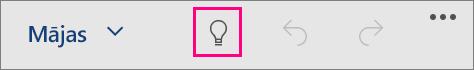 Parāda ikonu Priekšāteikšana pakalpojumā Office darbam ar Windows10 Mobile