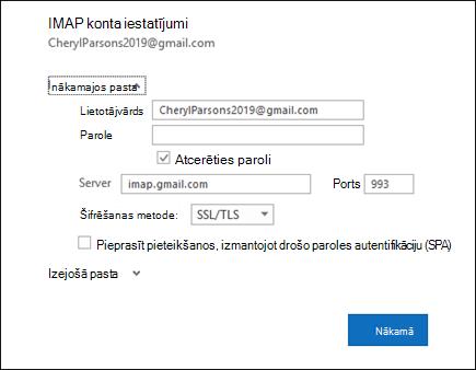 Atlasiet servera iestatījumi, lai mainītu savu lietotājvārdu, paroli un servera iestatījumus.