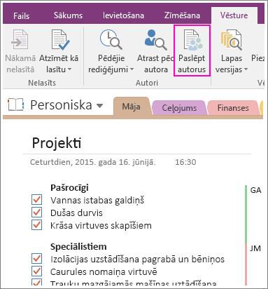 Ekrānuzņēmums, kurā redzama poga Paslēpt autorus programmā OneNote2016.