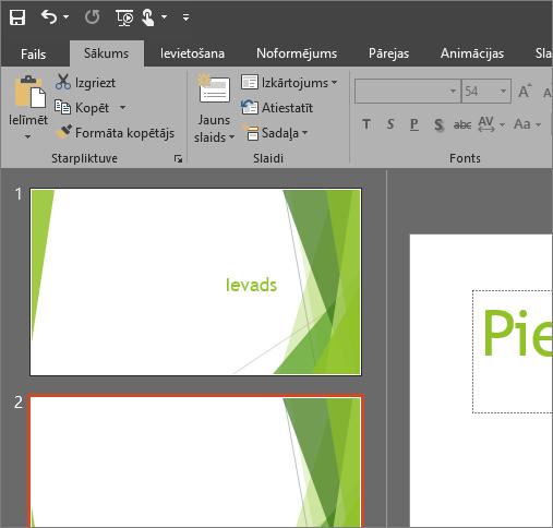 Rāda melno dizainu programmā PowerPoint2016 darbam ar Windows