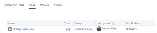Noklikšķiniet uz faili, lai skatītu visus failus, kas izveidoti lietotāja