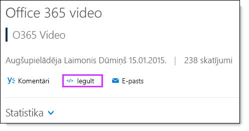 Office 365 Video iegulšanas kodu