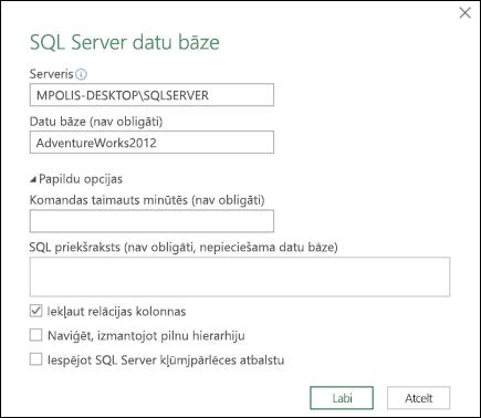 Power Query SQL Server datu bāzes savienojuma dialogu