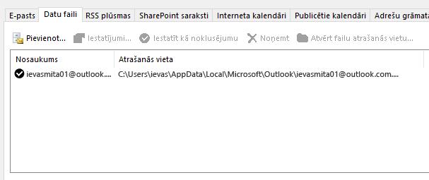 Outlook konta iestatījumu cilne datu faili, kas rāda Outlook datu failu atrašanās vietu nosauktajam lietotājam