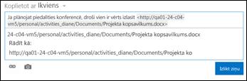 Dokumenta vietrādis URL, kas ielīmēts jaunumu plūsmas ziņā