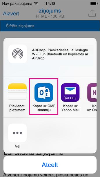 OME skatītājs programmai Outlook darbam ar iOS 3