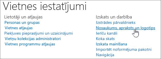 Site Iestatījumi with Title, description, logo selected