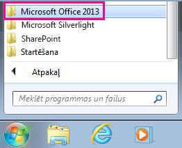 Office2013 grupa sadaļā Visas programmas operētājsistēmā Windows7