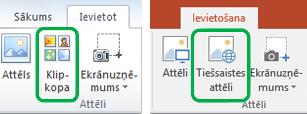 Izmantojiet cilni Ievietošana Office lentē, lai ievietotu tiešsaistes attēlus, iepriekš dēvētus par klipkopām.