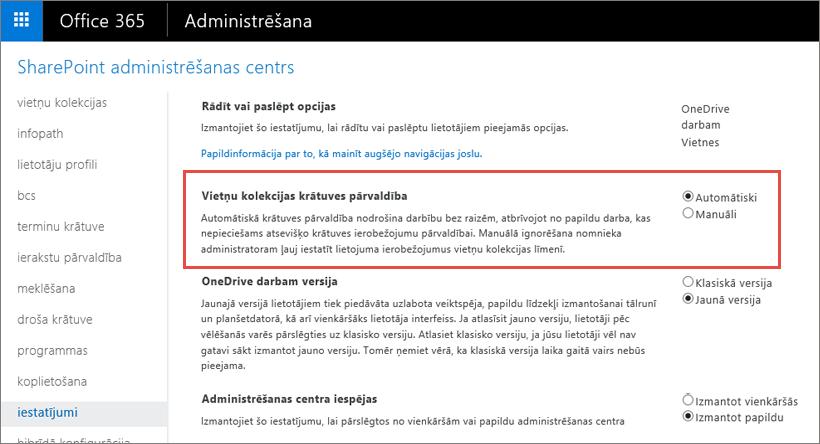 Office 365 SharePoint Online iestatījumu ekrānu ar iezīmētu vietņu kolekcijas Management