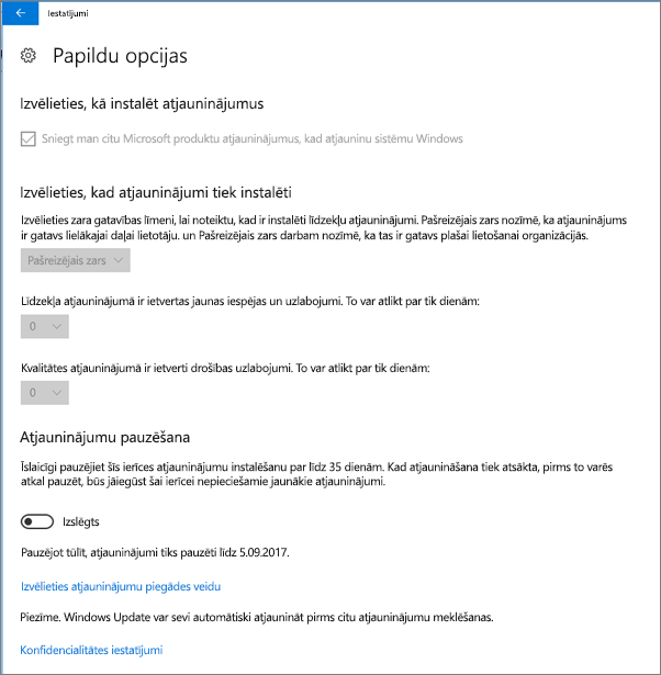 Windows atjauninājumu papildopcijas visas pelēkots.